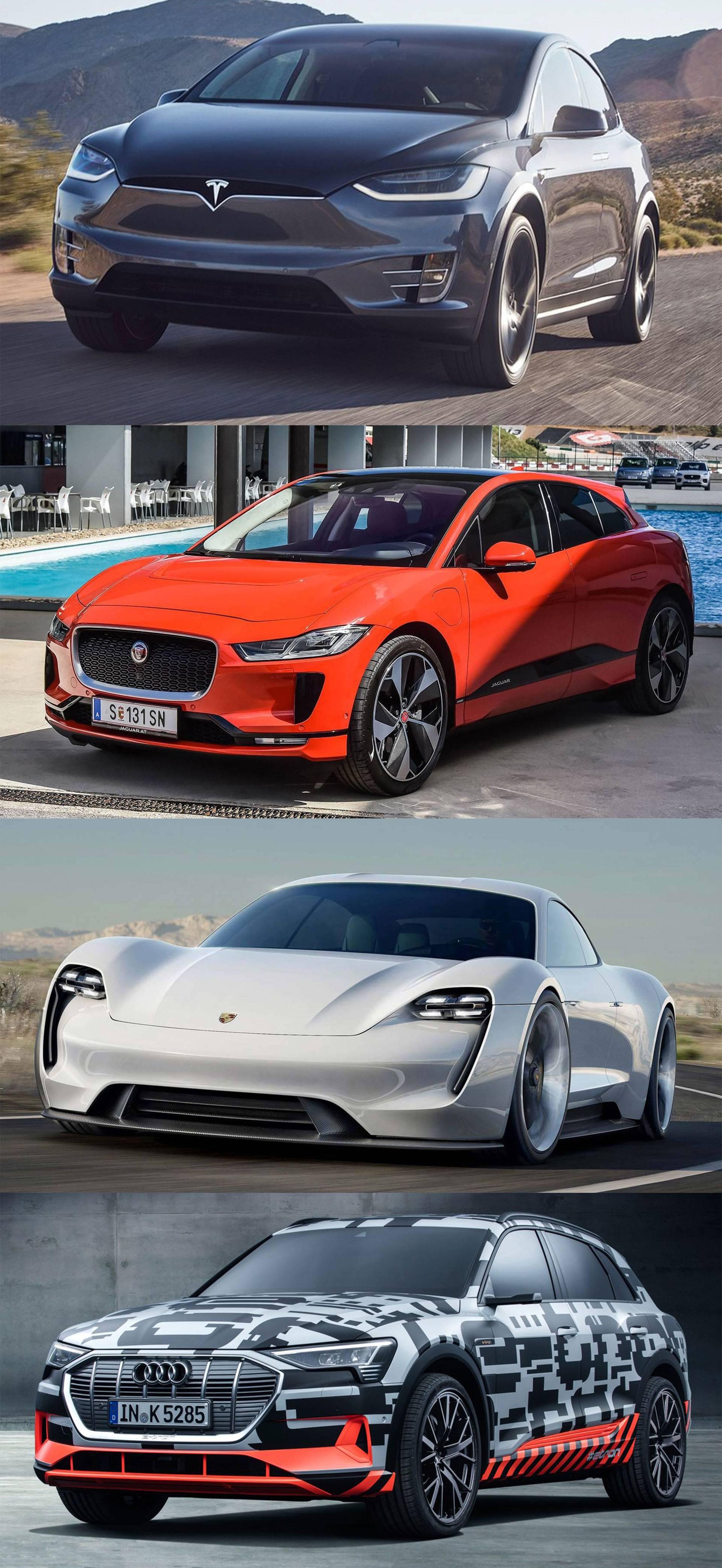 谁强?特斯拉modelx与捷豹,保时捷,奥迪的纯电动车型pk比亚迪f0铉酷型图片